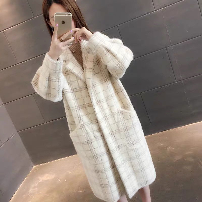 Women's Sweater Cashmere Cardigan Jacket Winter Korean Loose Thickened Imitation Water Velvet Jacket Lady Long Knitting Coat171