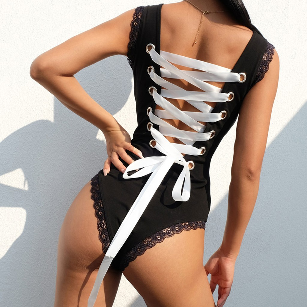 New Black Women Bodysuits Sexy Lace Stitching Woven Backless One-piece Underwear Tights Bodysuit Seamless Teddies Lingerie Body