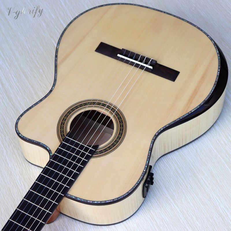 Yüksek dereceli alev akçaağaç kesit klasik gitar radyan köşe 39 inç ladin katı ahşap üst doğal renk ile EQ gitar