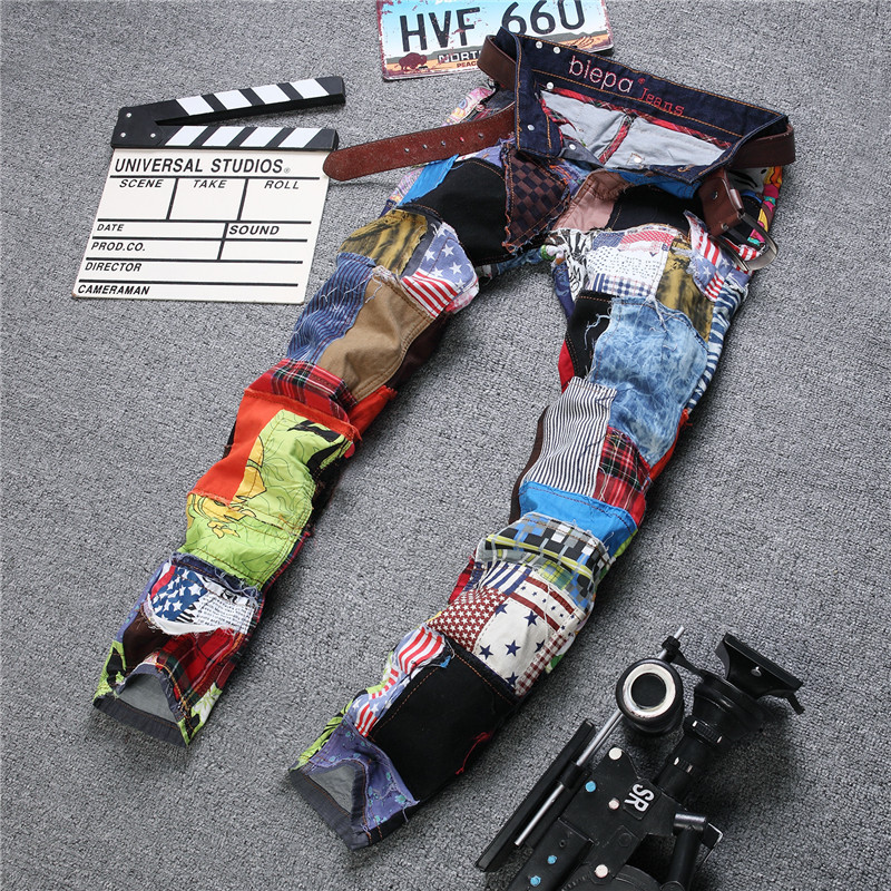Ozhouzhan Flower Stickers Cloth MEN'S Jeans Joint Ripped Jeans Nightclub Men's Badge Jeans Punk