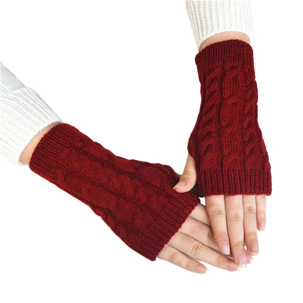 Pair Glove Hand Wrist Winter Warmer Flexi Fingerless Mitten Gloves Warm Fall