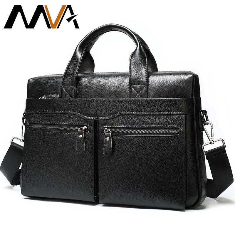 MVA Briefcase Men's Genuine Leather Bag Men Handbag Office Bag For Men Leather Laptop Bags For Documents Computer Bags 14 Inch