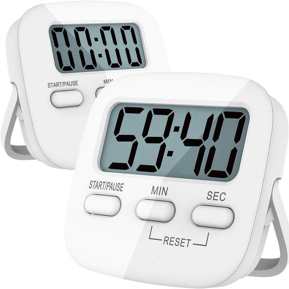Цифровой кухонный таймер, 2 упаковки, магнитный Таймер обратного отсчета, секундомер, большая цифра, задняя подставка для приготовления пищ...