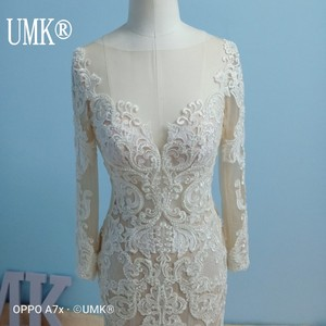 Image 2 - UMK Long Sleeve Mermaid Wedding Dress 2020 Chic Lace Boho Wedding Gowns Pearl sequins See Through Sexy Vestido De Noiva