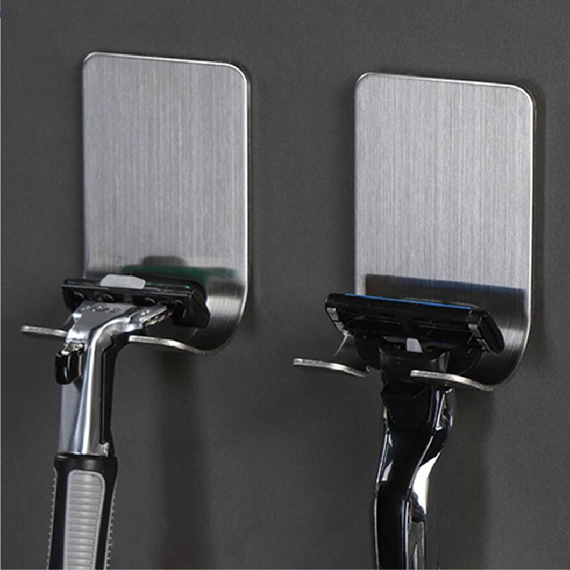 304 Stainless Steel Bathroom Shaver Holders Storage Rack Stick On Wall Razor Rack Holder Shaver Hanger Bathroom Accessories