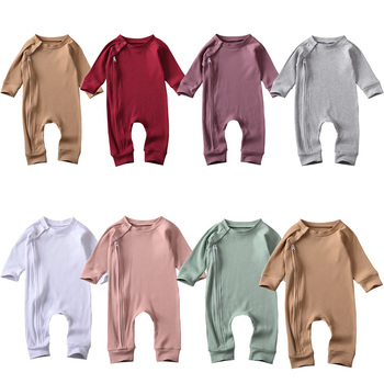 0-24M Newborn Baby Boys Girls Solid Romper With Zipper Cotton Kids Girls Long Sleeve Solid Ribbed Jumpsuit Spring Autumn Clothes newborn boys girls rompers toddler turn down collar long sleeve casual romper baby cotton white pink clothes baby onesie 6 24m