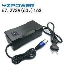 Yzpower carregador inteligente de scooter, bateria de lítio 3a 67.2v para roda elétrica bateria de 60v