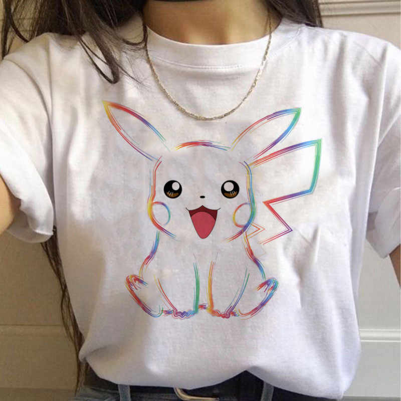 Pokemon Gehen Harajuku T Shirts Frauen Kawaii Pikachu Lustige Cartoon T-shirt 90s Nette Druck T-shirt Mode Streetwear Top Tees weibliche