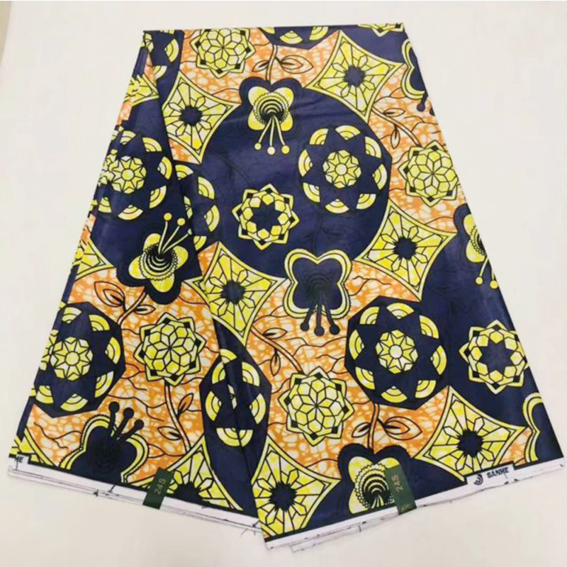 Flower Netherlands Pange African Wax Fabric 100% Cotton High Quality Real Dutch Print Wax For Ghana Nigerian Ankara Women 6 Yrds