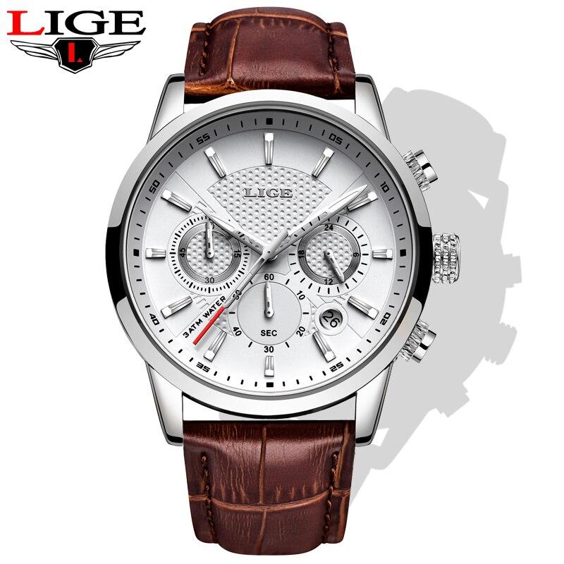 LIGE Fashion Quartz Men's Watches Luxury Leather Sports  Chronograph Watch Gentle Men Clock For Male Students Reloj Hombre 2019