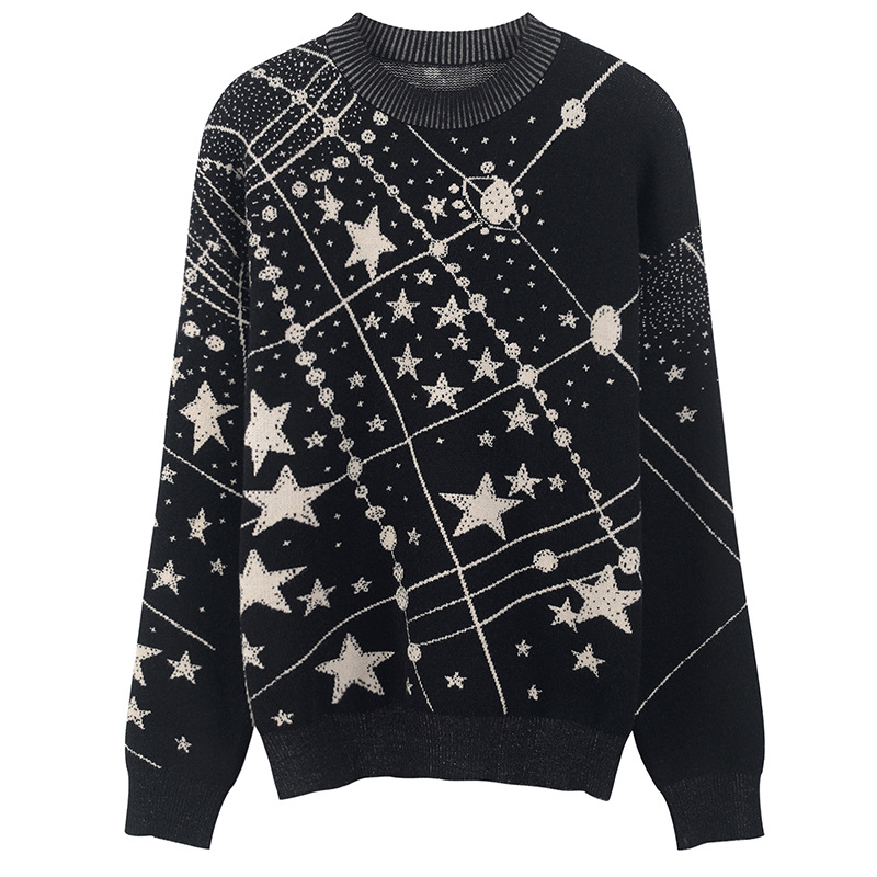 Image 3 - Retro Galaxy Star Pattern Sweater Women Vintage Long Sleeve  Jumpers 2020 Autumn Winter Ladies Jacquard Sweaters Pullovers C  285Pullovers