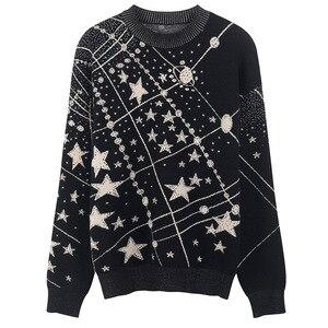 Image 3 - Suéter Retro con estampado de galaxia y estrellas para mujer, jerséis de manga larga Vintage, jerséis de Jacquard para mujer, C 285, Otoño e Invierno 2020