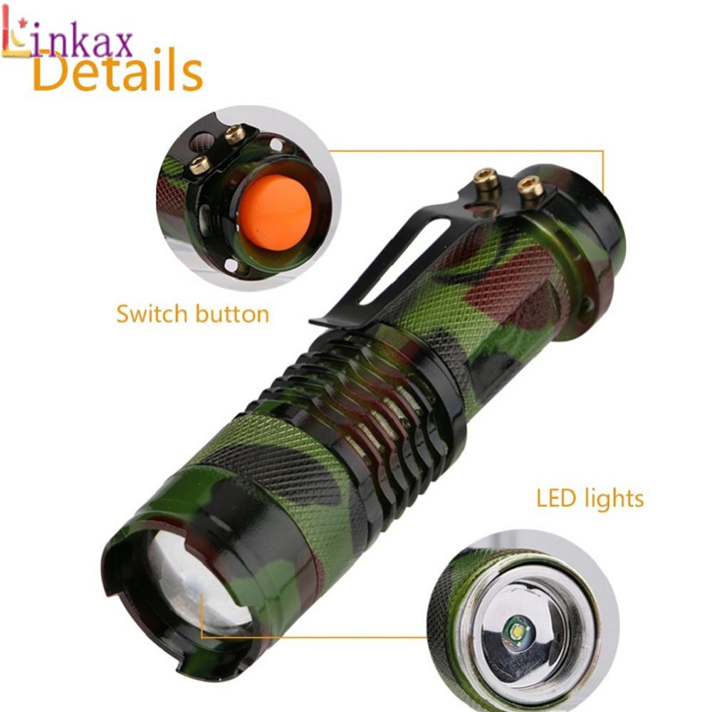 SK68 1000LM Flashlight Waterproof Camouflage LED Flashlight Torch 3 Modes Zoomable Adjustable Focus Lantern Portable Light