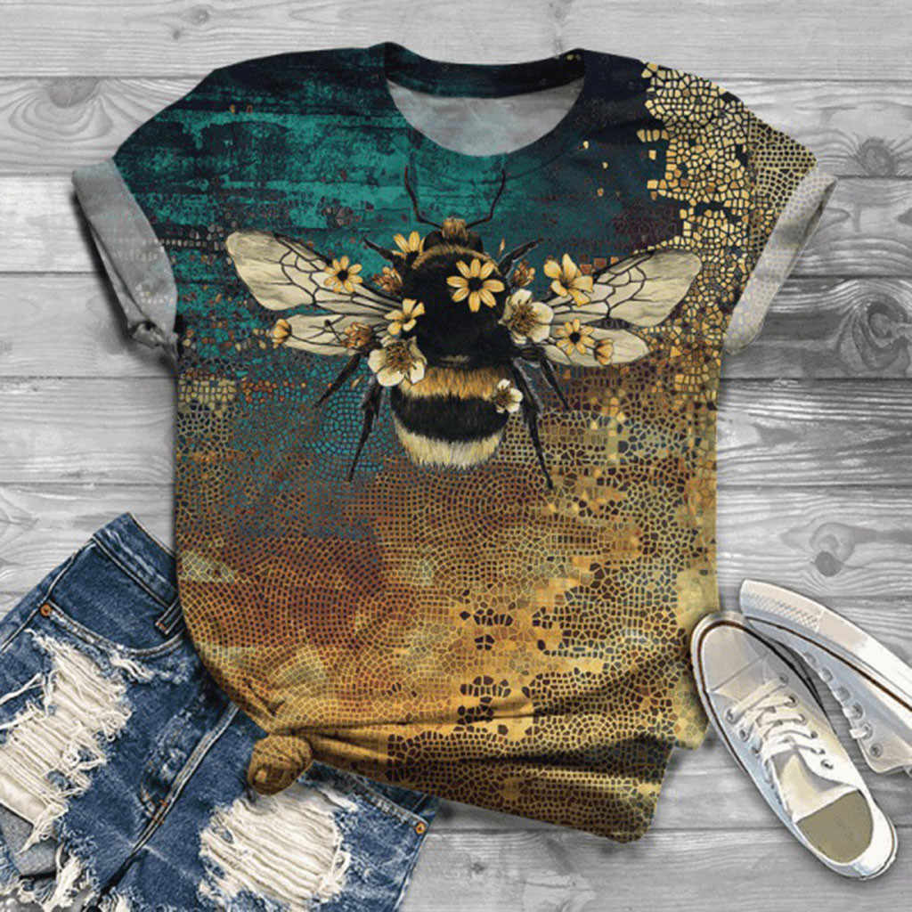 Mode Tshirt Vrouwen Plus Size Korte Mouw 3D Animal Gedrukt O-hals Tops Tee T-shirt Top Vrouwen Harajuku T-shirt Camisas z0615