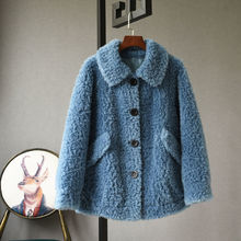 Fur Jackets Fur-Coats Lamb Real-Sheep-Shearling Genuine-Wool-Fur Winter Women New Autumn