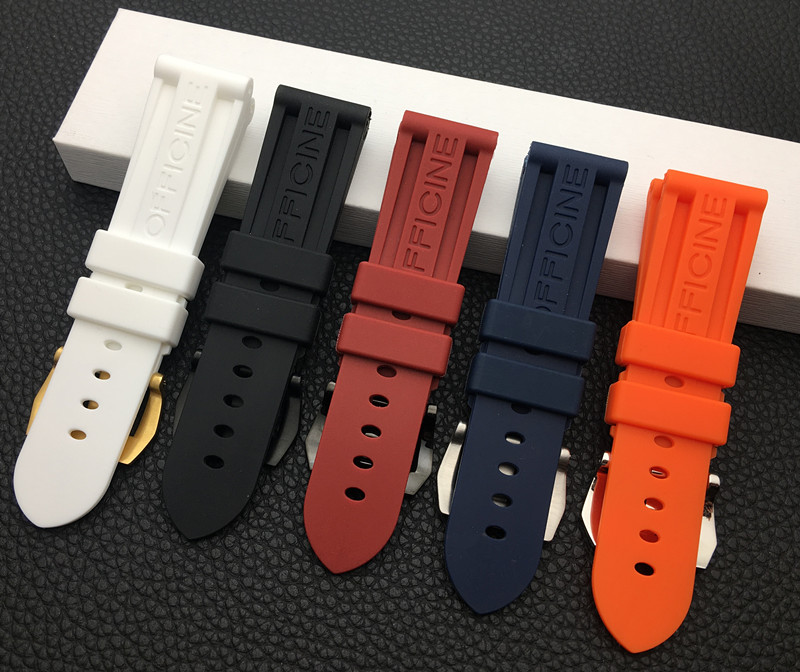 22mm 24mm 26mm Black Blue Red Orange white watch band Silicone Rubber Watchband replacement For Panerai Strap tools steel buckle(China)