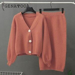Image 3 - Genayooa Conjunto de dos piezas de punto para mujer, conjunto de 2 piezas, suéter, traje Vintage de manga larga, cárdigan, Falda Midi, 2020