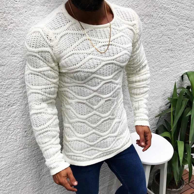 Autumn New Men's Knitted Sweaters Solid Color O Neck Slim Fit Long Sleeve Pullovers 2019 Winter Casual Slim Fit Sweater male 3XL
