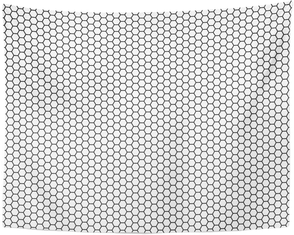 Tapestry Black Net Grid Hexagonal Cell Honeycomb Speaker Grille Hexagon Futuristic Tapestries Wall Hanging For Living Room
