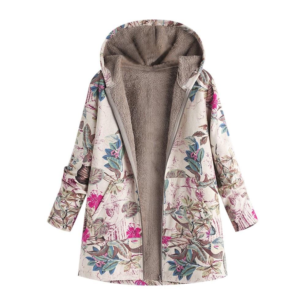 Female Jacket Plush Coat Women's Windbreaker Winter Warm Outwear Floral Print Hooded Pockets Vintage Oversize Coats Plus Size #M
