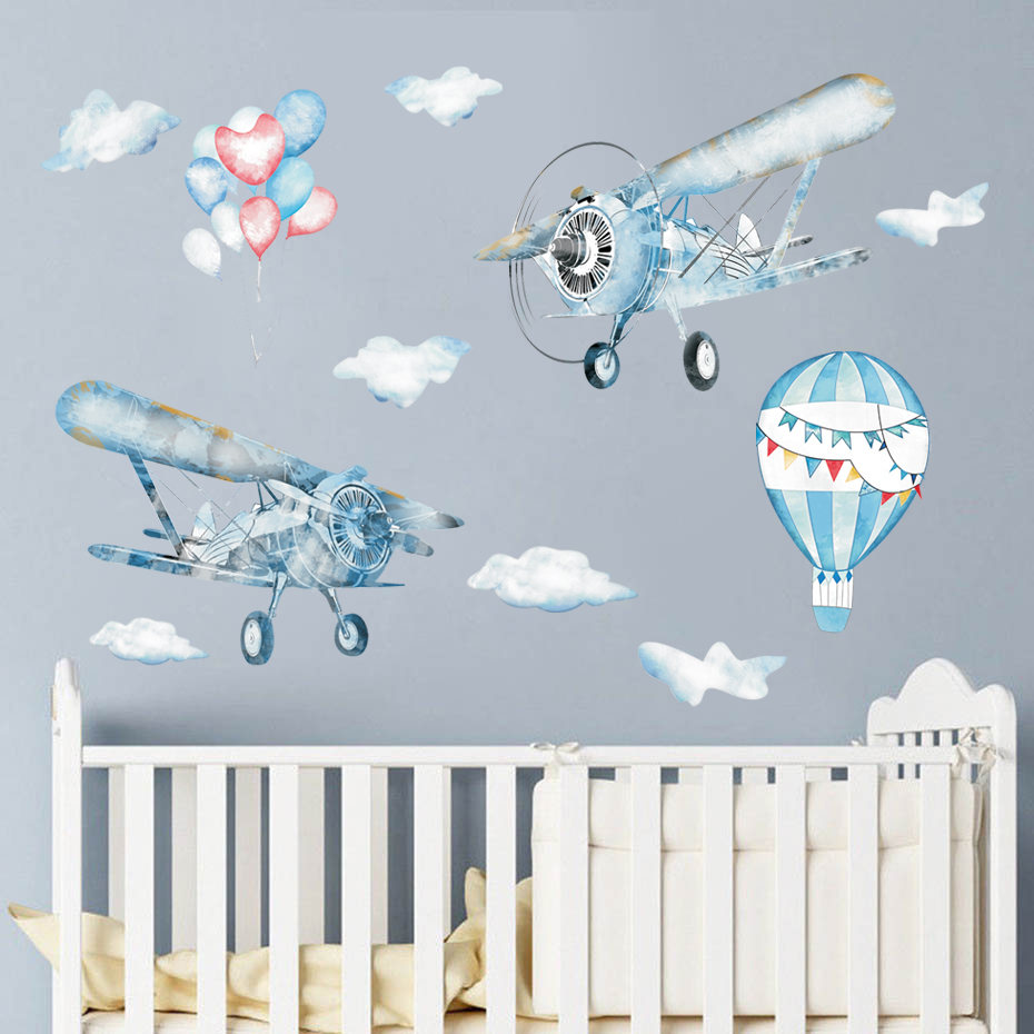 Modern Art Airplane Hot Air Balloon Wall Sticker Kids Baby Rooms Home Decoration Vinyl Mural Decals Nursery Stickers Wallpaper image