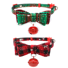 Christmas Snow Series Pet Dog Collar Harness Bowknot Collar Dog Cats Bells Cat Bow Tie Pet Festival Supplies(China)
