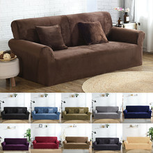 High Quality Velvet Plush Sofa Cover for Living Room Sectional Couch Cover Elastic Case Sofa Slipcover Stretch 1/2/3/4 Seater(China)