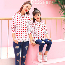 Family Matching Clothes Mother Baby Girl Kids Sweet Loving Heart Print Long Sleeve Shirt Mother Daughter Mommy and Me Outfits loving mother