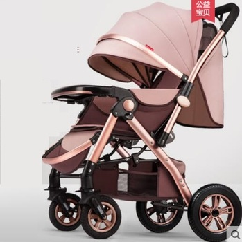 igh view baby stroller can sit and lie down light folding umbrella car four wheel carriage
