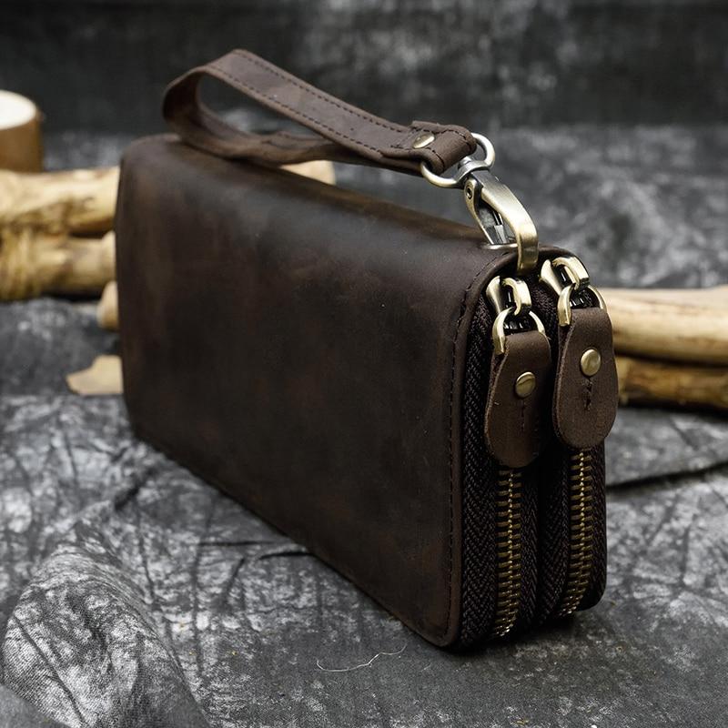 MAHEU Purse Billetera Crazy-Horse Double-Zipper Genuine-Leather 24-Card-Holders Men Clutch