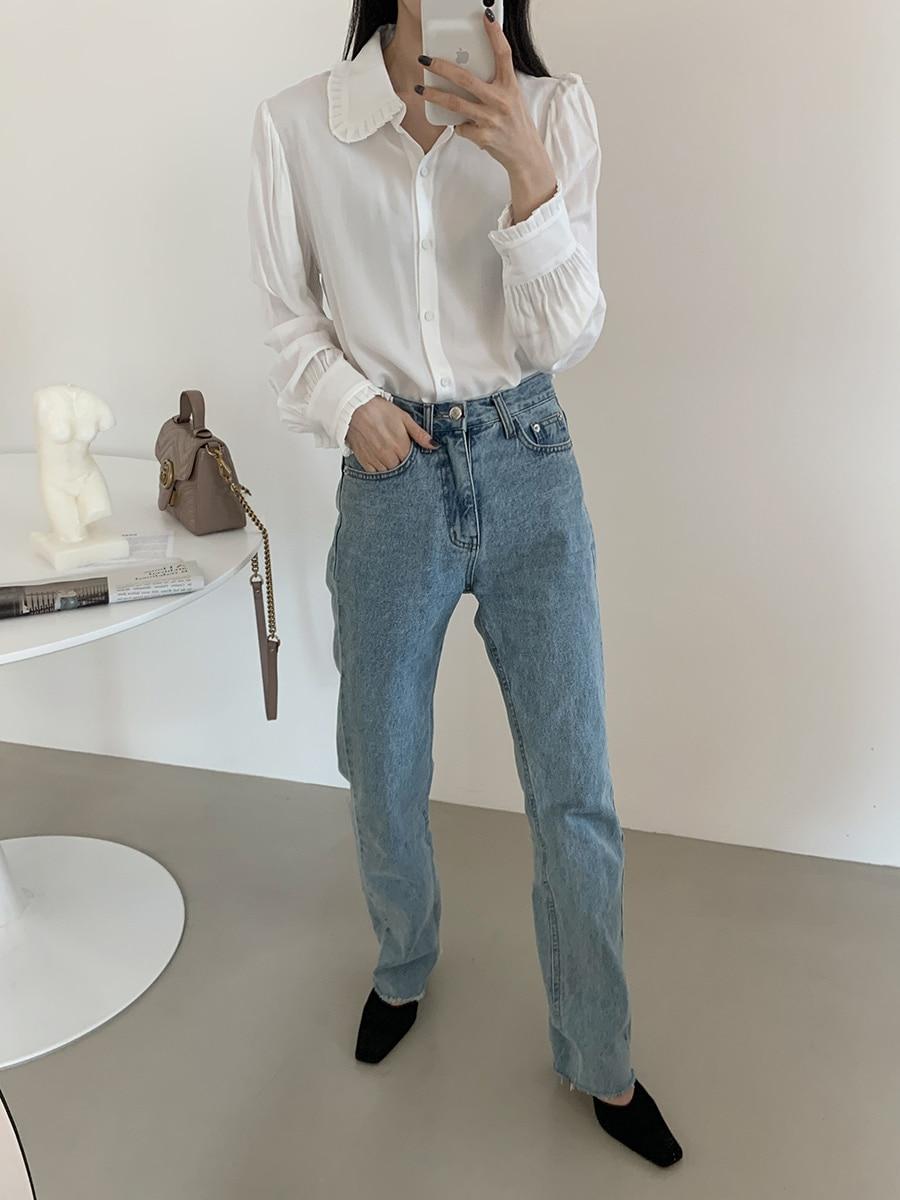 Hdf90dfc2c89b456e8841291c408510ddm - Spring / Autumn Korean Frilled Turn-Down Collar Long Sleeves One-Button Cuffs Solid Blouse