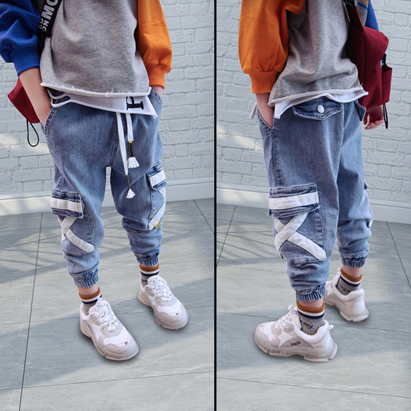 Hip Hop Boys Side Pockets Jeans Cargo Harem Pants Kids Jeans 2019 Casual Blue Denim Elastic Waist Jeans Loose Pants Boy Trousers