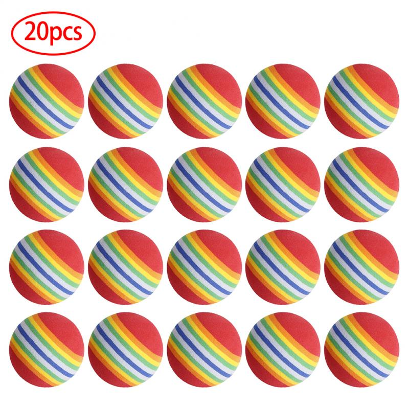 New 20Pcs 38mm EVA Foam Soft Rainbow Balls Golf Swing Training Balls Sponge Golf Rainbow Color Indoor Practice Aids Ball