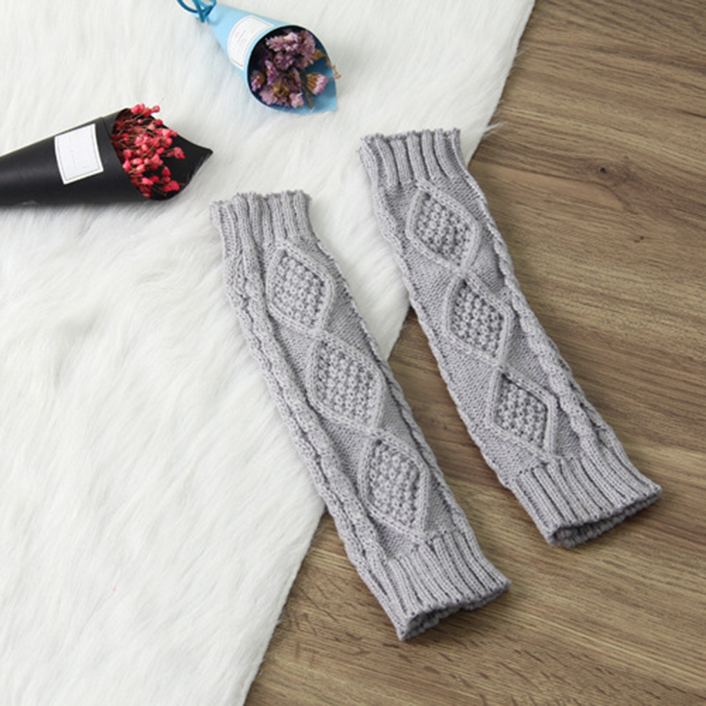 1 Pair Women Autumn Winter Knit Gloves Arm Wrist Sleeve Warmer Girls Rhombus Long Half Winter Mittens