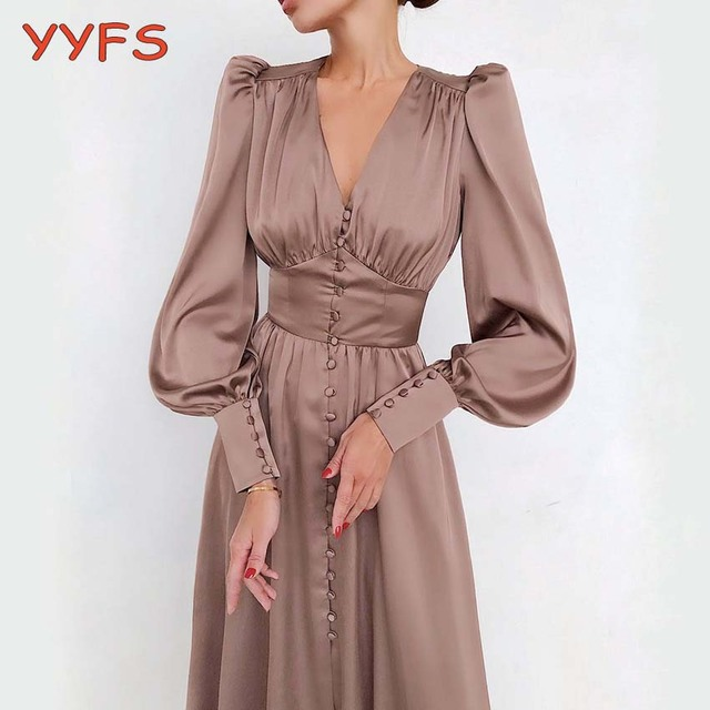 Satin Long Dress Women Puff Sleeve Spring V-Neck Party Pleated Dress Casual Elegant Bodycon Dress Ladies Chic Ruched Dresses 1