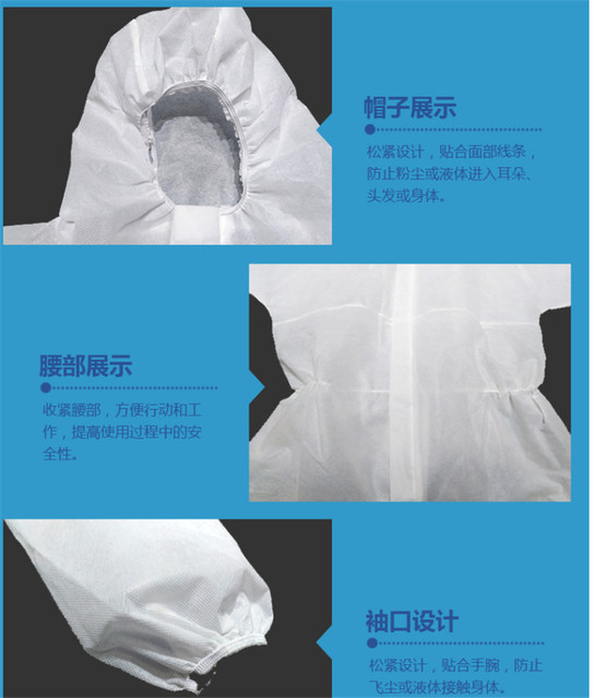 Protective suit chemical protection jumpsuit coveralls PPE suit safety goggle disposable latex glove hazmat suit 3
