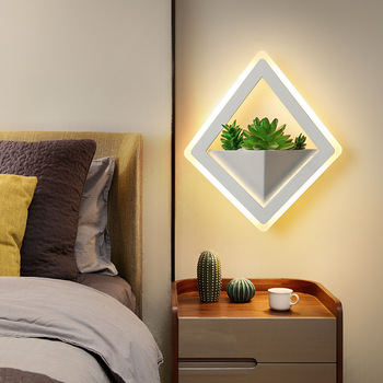 Simple Modern Style Wall Lamp with Artificial Plants Corridor Restaurant Aisle Bedside Creative Led Simulation Potted Wall Light