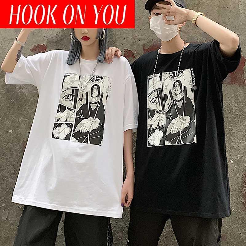 原宿ナルト男性の tシャツユニセックスクールアニメうちはイタチプリント半袖ストリート tシャツメンズカジュアル tシャツ