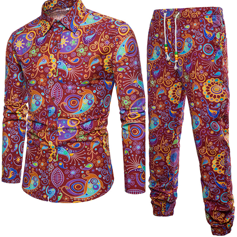 18 Years New Products Ethnic-Style Summer Wear Long Sleeve Trousers Floral Set Men Leisure Set A028