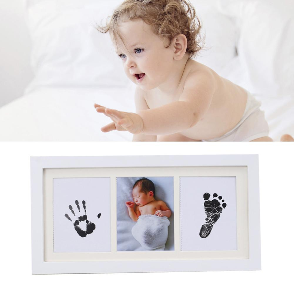 Newborn Baby Handprint Footprint With Wooden Photo Frame For Baby Care Souvenir Casting Infant Footprint Soft Clay Ink Pad