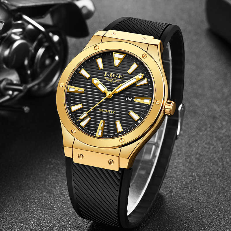 LIGE Fashion Mens Watches Silicone Strap Men's Military Sport Watch For Men Waterproof Gold Watch Quartz Clock Relogio Masculino