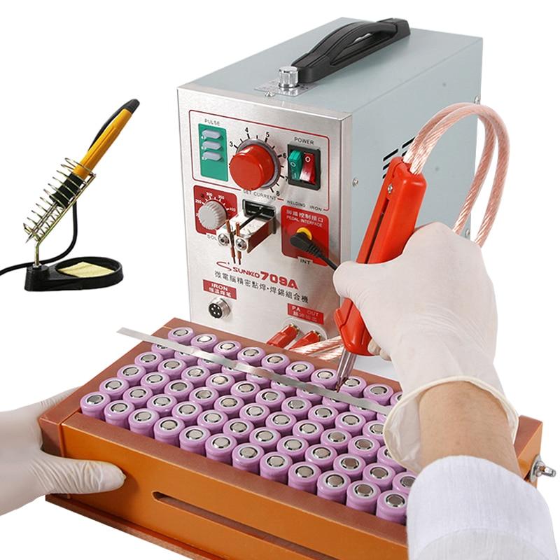 Tools : SUNKKO 709A HB-70B Spot Welder 1 9KW LED Light Pulse Spot Welding Machine For 18650 Battery Pack Precision 912 Electric Iron