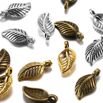 60Pcs/Pack 15x7mm Metal Small Leaf Shape Pendants For DIY Jewelry Making Findings Accessories Supplies Bracelets Necklaces 30pcs metal feather leaf dreamcatcher charms pendants for diy earrings necklaces bracelets findings for jewelry making wholesale