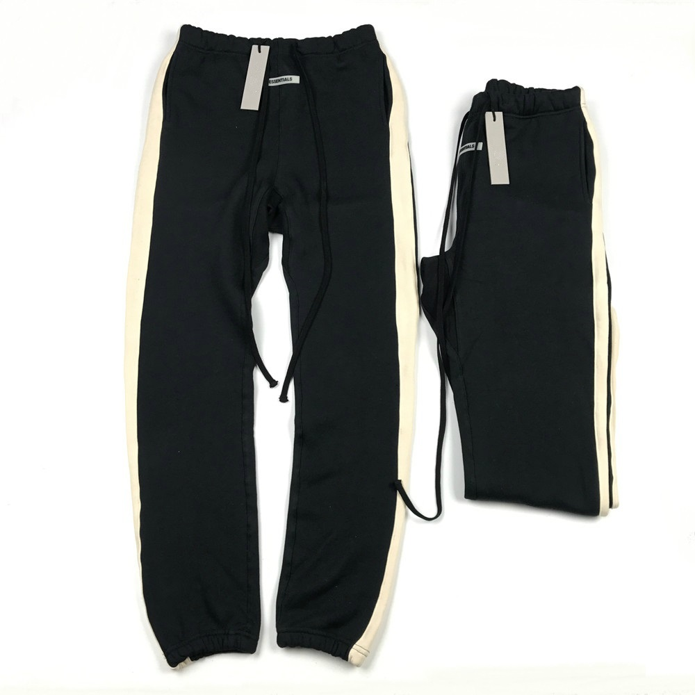 High Quality Side Stripe Relaxed-fit Fleece Sweatpants Hip Hop Justin Bieber Drawstring Jogger Pants Three-pocket Styling