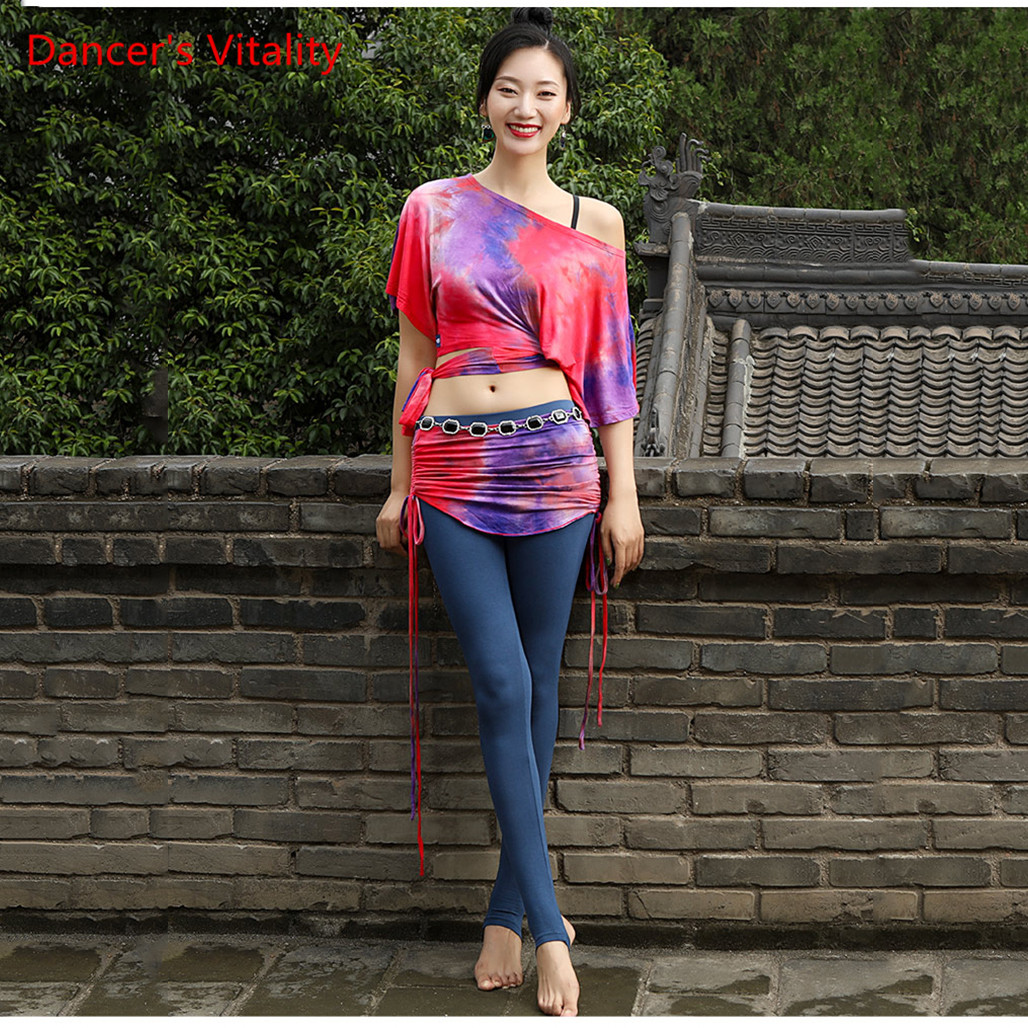 Women Autumn Winter Haft-Sleeved   Dance Costume New Belly Dance Practice Clothing Oriental Dance Skirt Sexy Pants Set