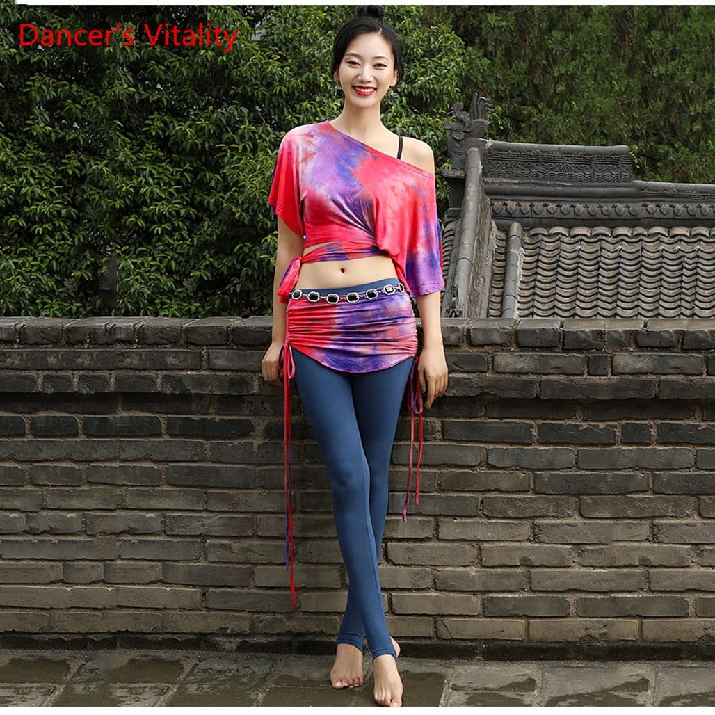 Women Autumn Winter Haft-Sleeved   Dance Costume New Belly Dance Practice Clothing Oriental Dance Skirt Sexy Pants Set