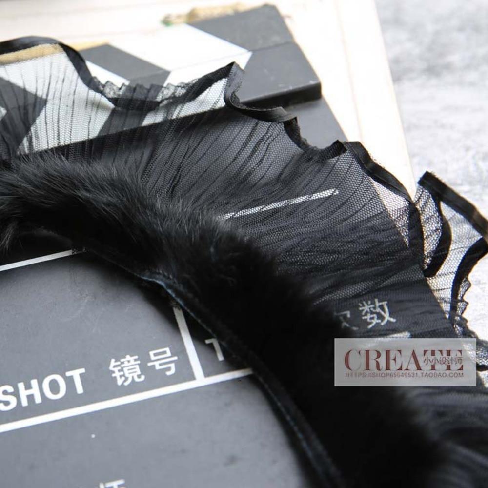 Handmade Pleats Skirt Flounced Black Lace Fabric Wedding Black Edge Lace Trim Clothing DIY Headwear Bag Snow Yarn Ruffles Lace