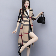 Plaid Coat Outwear Pocket Classic Long Women Office Chic Autumn Lady Simple AECU