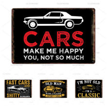 Car Vintage Poster Plate Pub Bar Club Garage Cars Saying Life Metal Signs Classic Decorative Wall Art Painting Plaque 20x30 Cm(China)