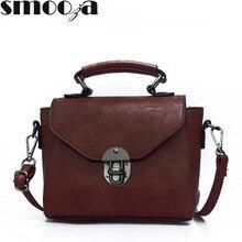 SMOOZA 빈티지 가죽 여성 탑 핸들 가방 작은 여성 핸드백 캐주얼 숄더 가방 레이디 고품질 플랩 가방
